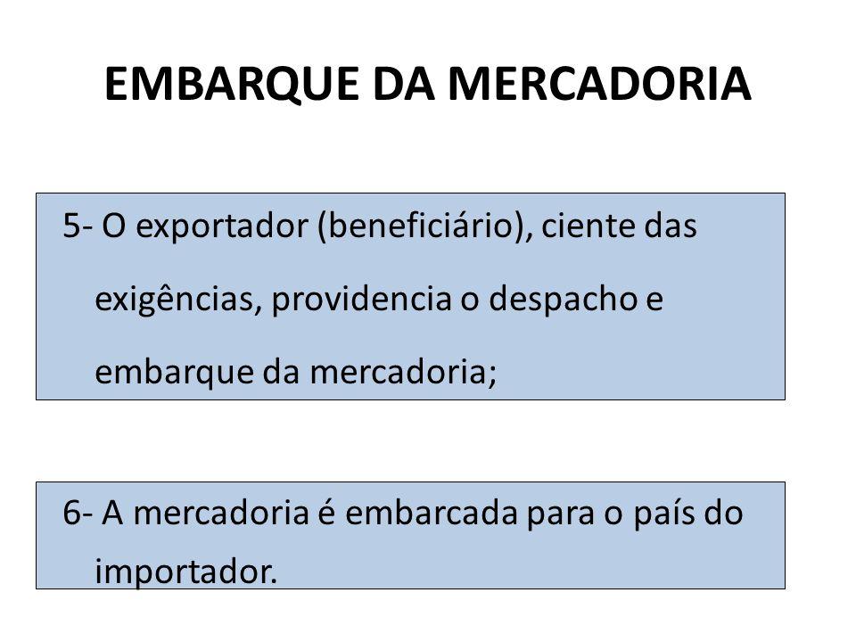 EMBARQUE DA MERCADORIA