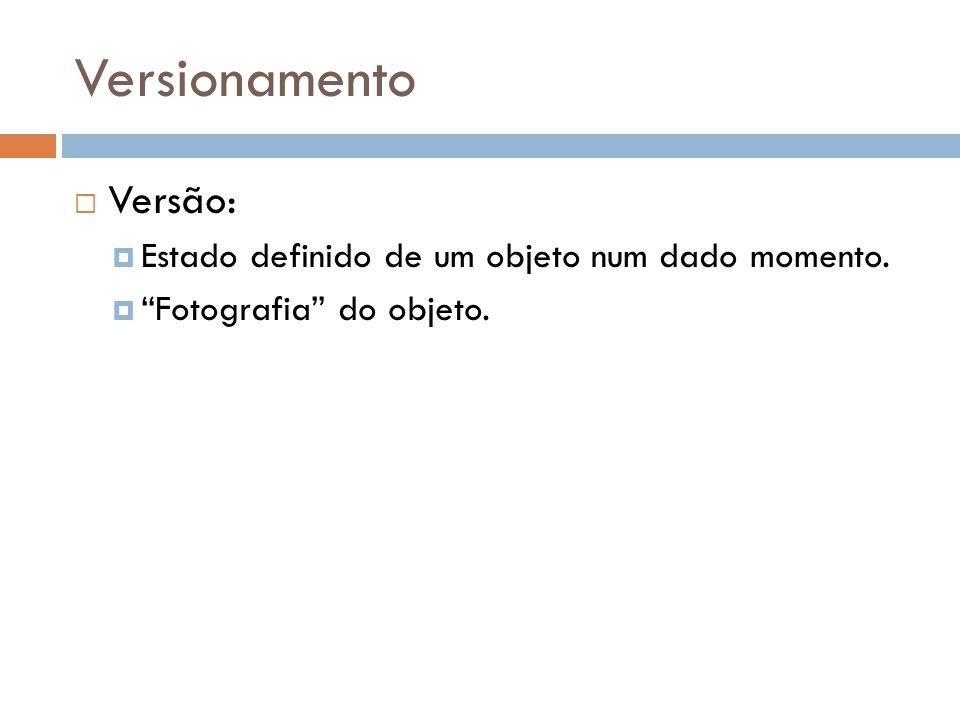 Versionamento Versão: Estado definido de um objeto num dado momento.