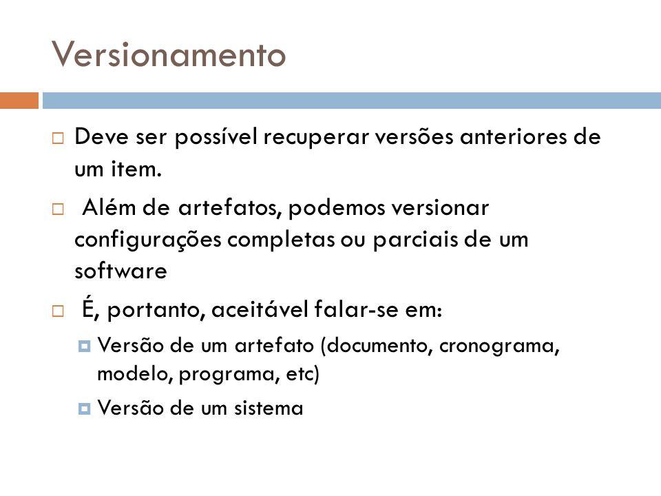 Versionamento Deve ser possível recuperar versões anteriores de um item.