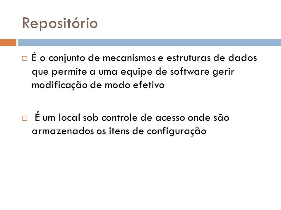 Repositório É o conjunto de mecanismos e estruturas de dados que permite a uma equipe de software gerir modificação de modo efetivo.