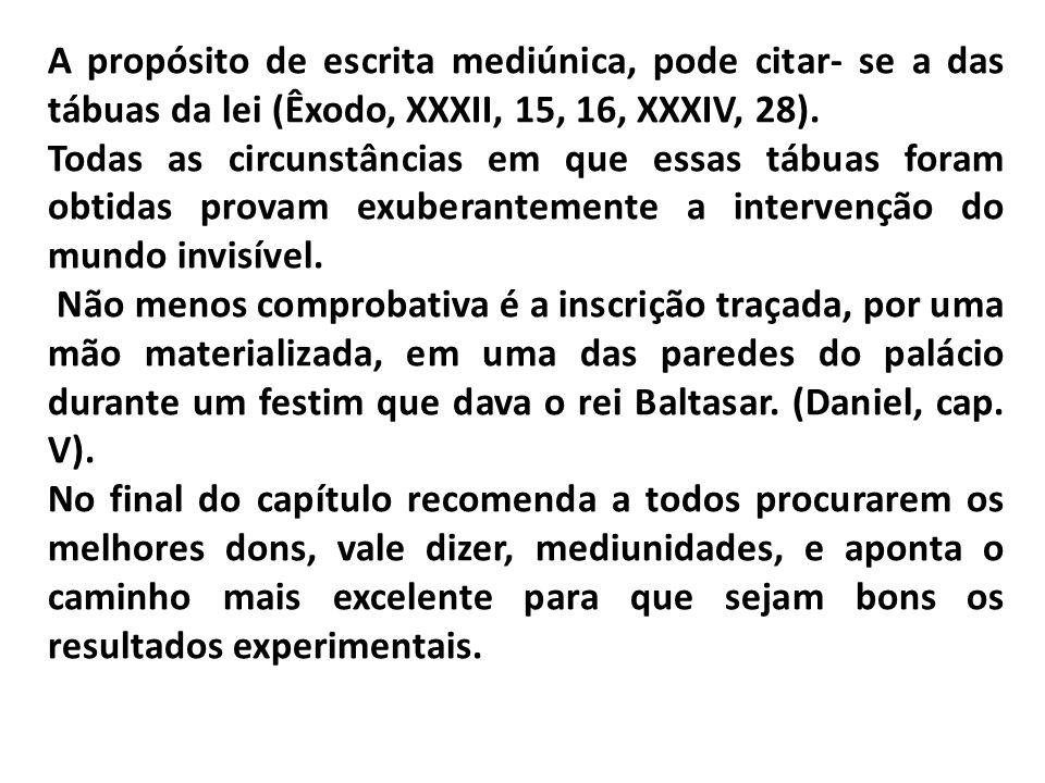 A propósito de escrita mediúnica, pode citar- se a das tábuas da lei (Êxodo, XXXII, 15, 16, XXXIV, 28).