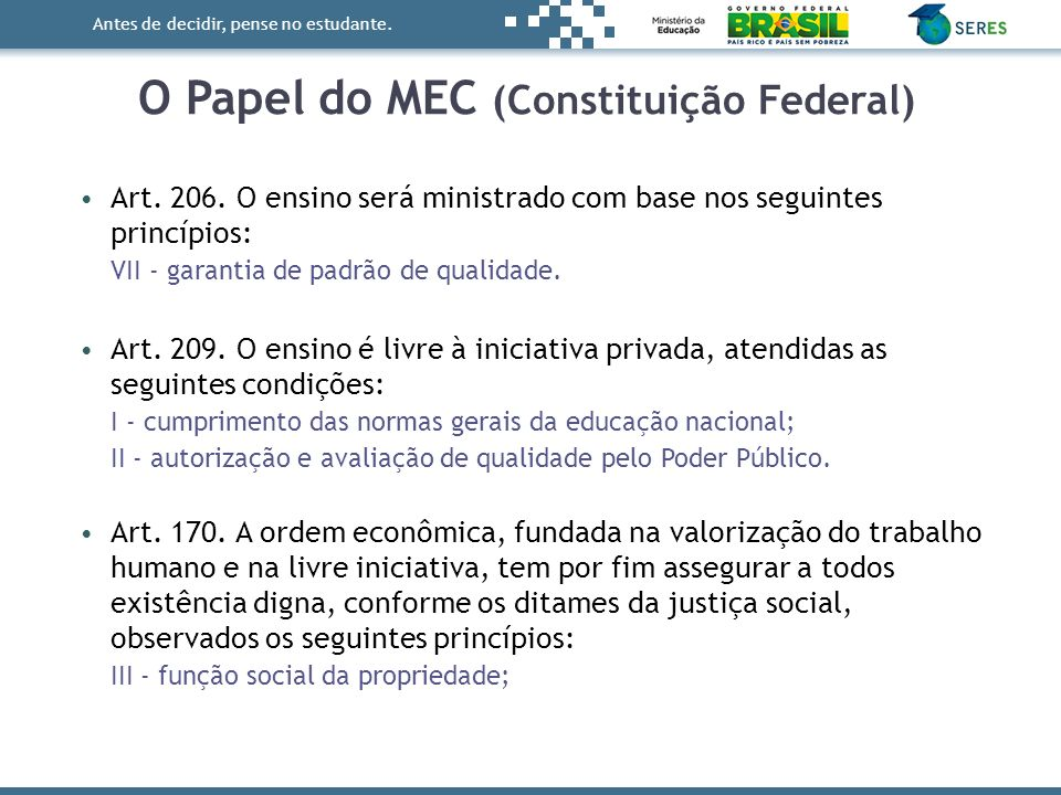 O Papel do MEC (Constituição Federal)