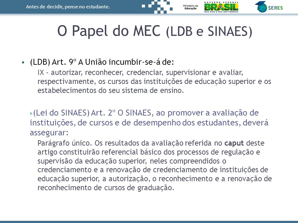 O Papel do MEC (LDB e SINAES)