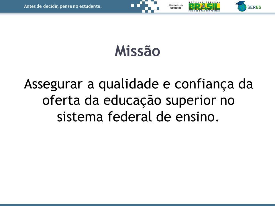 Missão Assegurar a qualidade e confiança da oferta da educação superior no sistema federal de ensino.