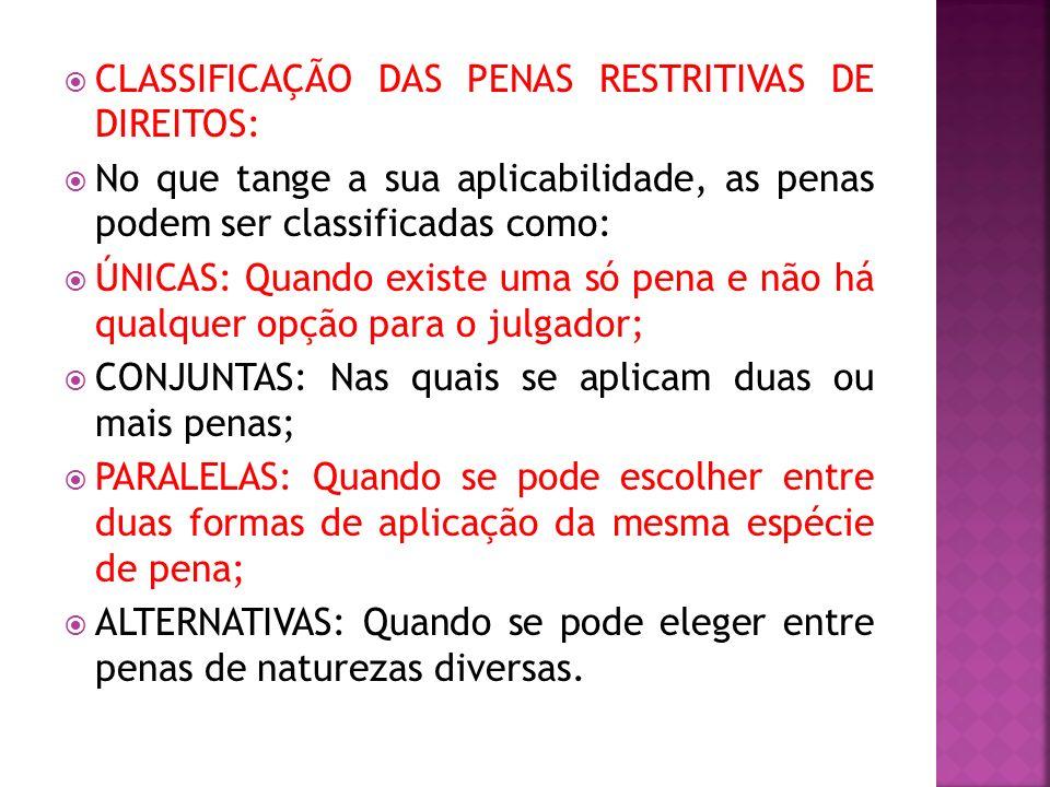 CLASSIFICAÇÃO DAS PENAS RESTRITIVAS DE DIREITOS: