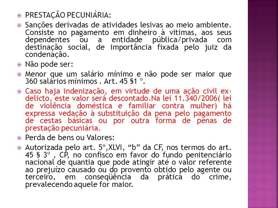 PRESTAÇÃO PECUNIÁRIA: