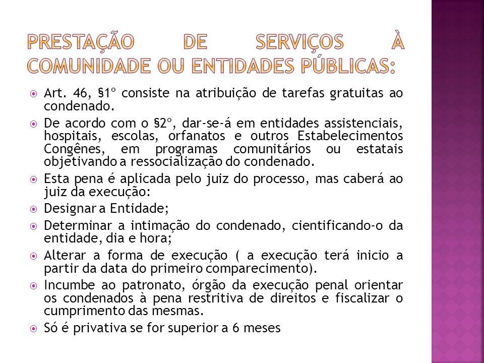 PRESTAÇÃO DE SERVIÇOS À COMUNIDADE OU ENTIDADES PÚBLICAS: