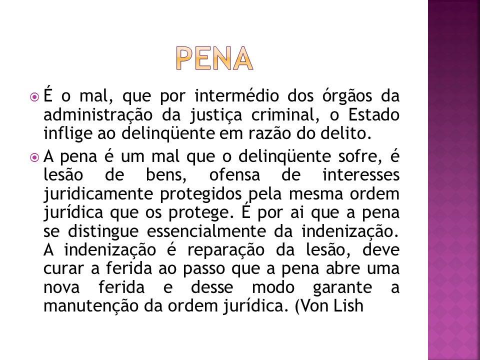 penA É o mal, que por intermédio dos órgãos da administração da justiça criminal, o Estado inflige ao delinqüente em razão do delito.
