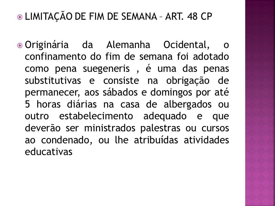 LIMITAÇÃO DE FIM DE SEMANA – ART. 48 CP