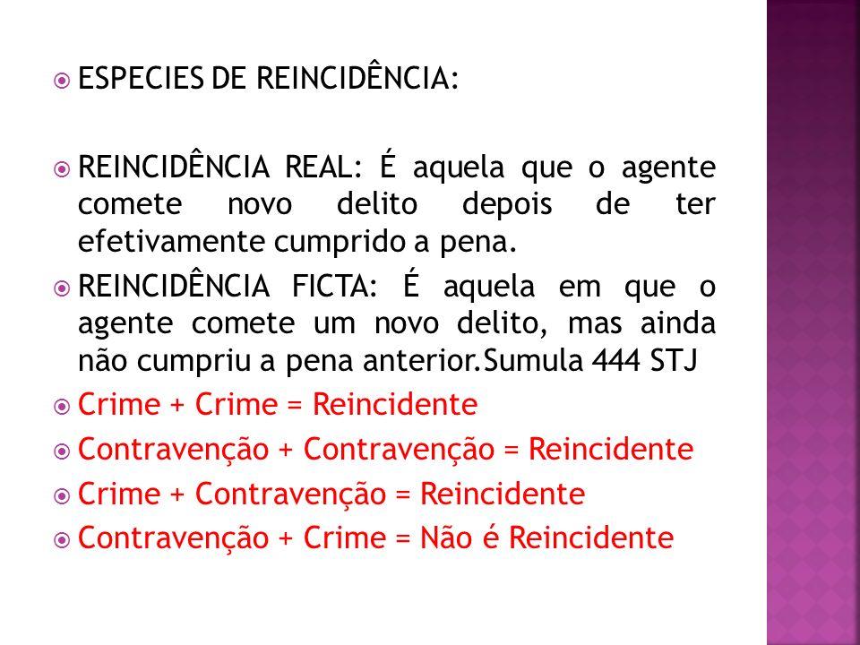 ESPECIES DE REINCIDÊNCIA: