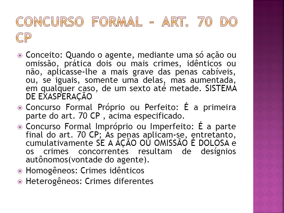CONCURSO FORMAL – ART. 70 DO CP
