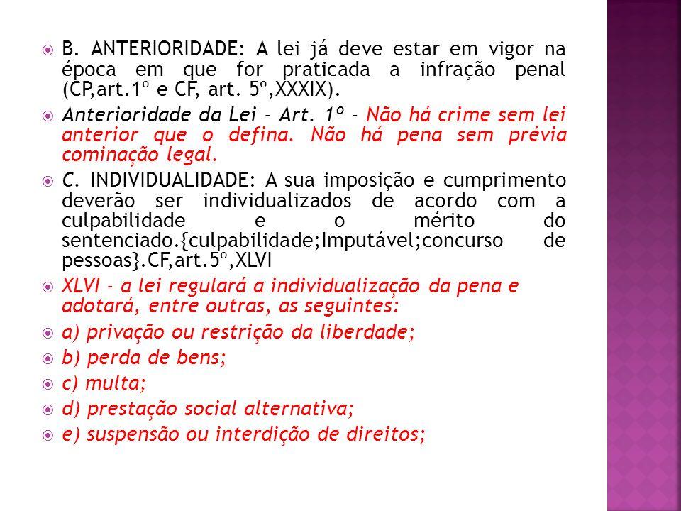 B. ANTERIORIDADE: A lei já deve estar em vigor na época em que for praticada a infração penal (CP,art.1º e CF, art. 5º,XXXIX).