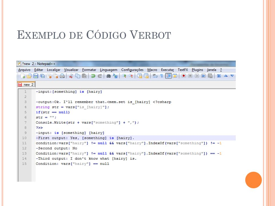 Exemplo de Código Verbot