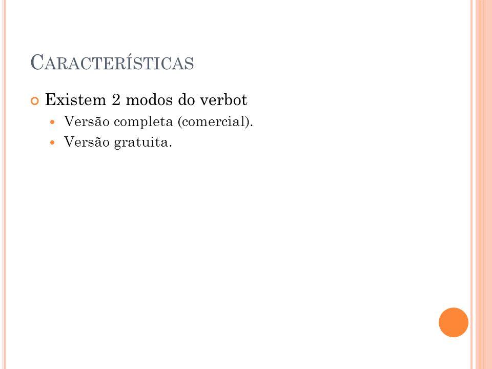 Características Existem 2 modos do verbot Versão completa (comercial).