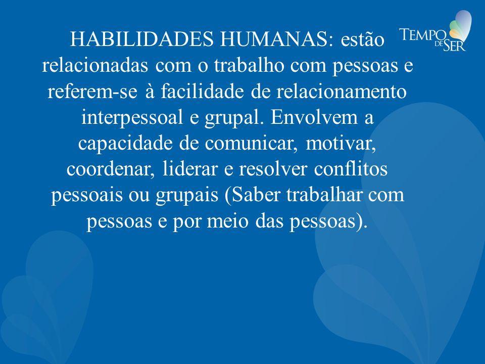 HABILIDADES HUMANAS: estão relacionadas com o trabalho com pessoas e referem-se à facilidade de relacionamento interpessoal e grupal.