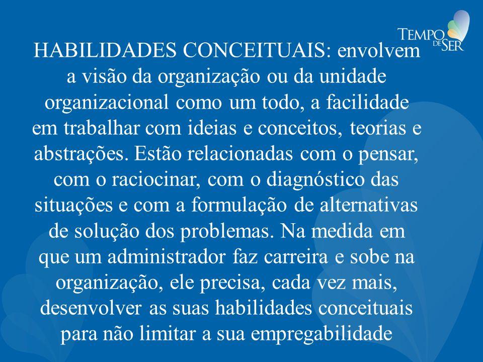 HABILIDADES CONCEITUAIS: envolvem a visão da organização ou da unidade organizacional como um todo, a facilidade em trabalhar com ideias e conceitos, teorias e abstrações.