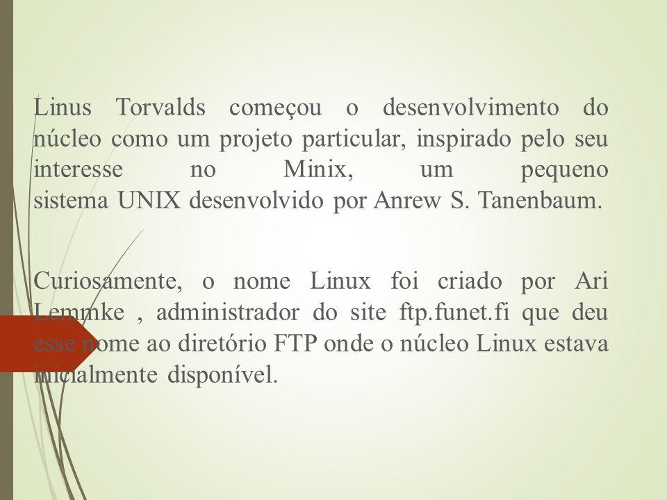 Linus Torvalds começou o desenvolvimento do núcleo como um projeto particular, inspirado pelo seu interesse no Minix, um pequeno sistema UNIX desenvolvido por Anrew S. Tanenbaum.