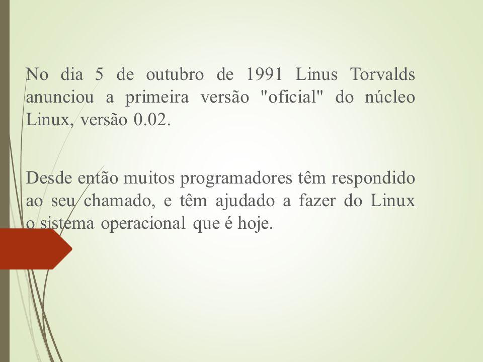 No dia 5 de outubro de 1991 Linus Torvalds anunciou a primeira versão oficial do núcleo Linux, versão 0.02.