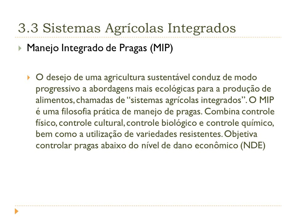 3.3 Sistemas Agrícolas Integrados