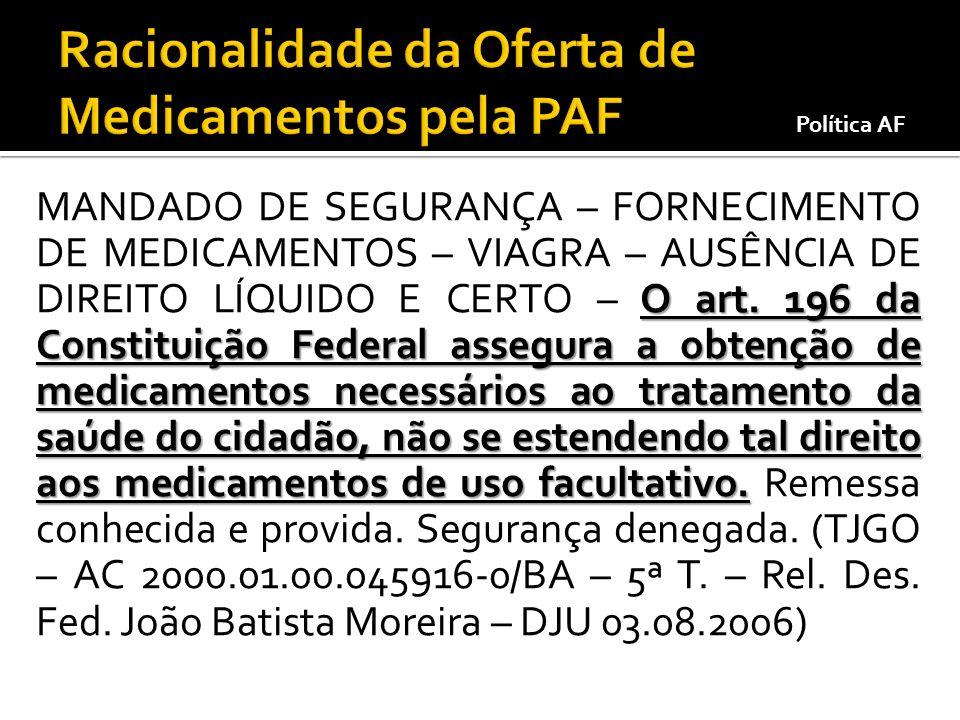 Racionalidade da Oferta de Medicamentos pela PAF