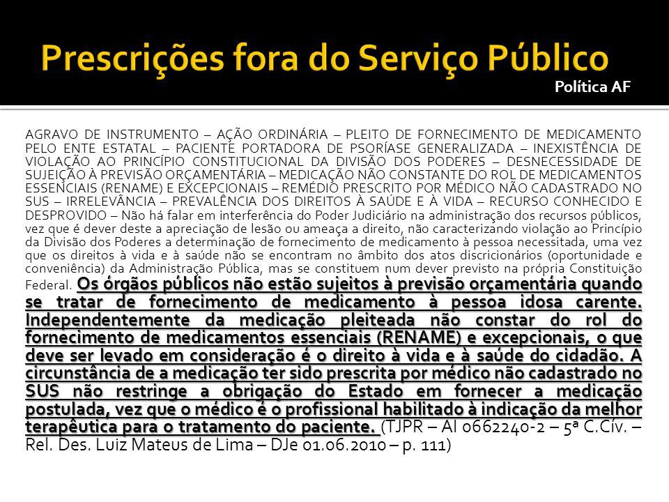 Prescrições fora do Serviço Público