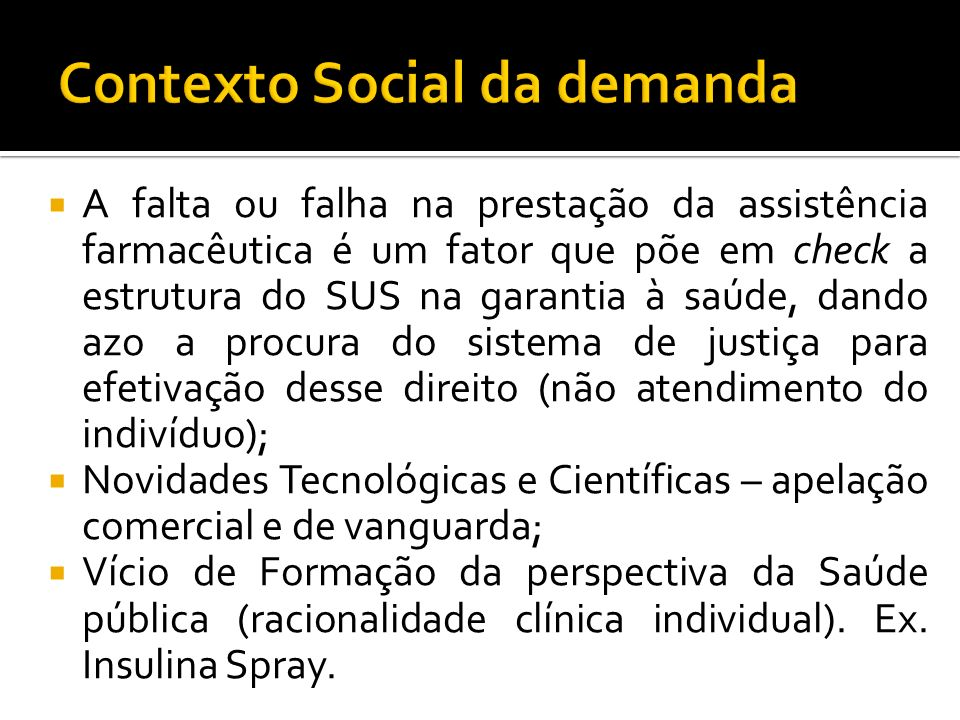 Contexto Social da demanda
