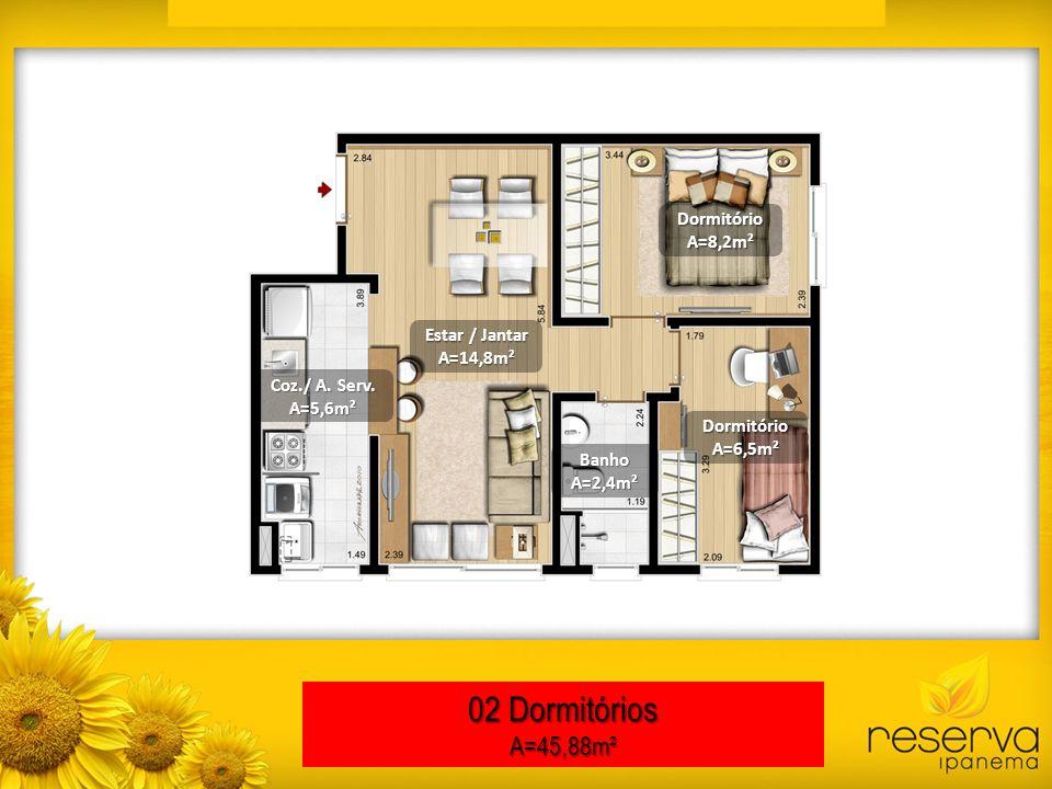 02 Dormitórios A=45,88m² Dormitório A=8,2m² Estar / Jantar A=14,8m²