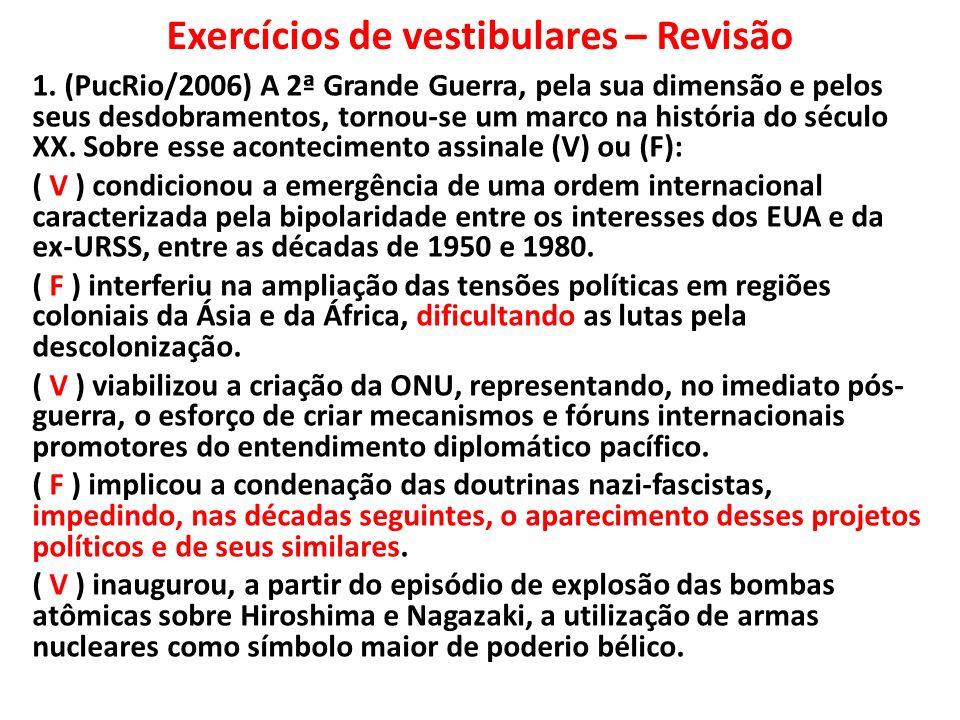 Exercícios de vestibulares – Revisão