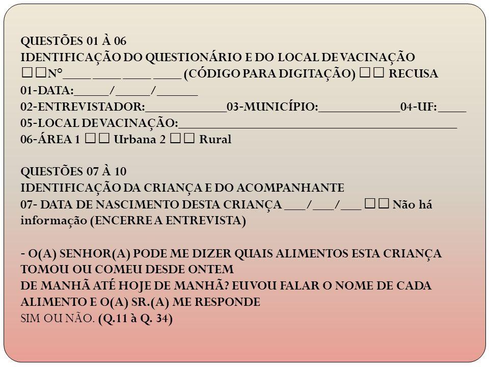 QUESTÕES 01 À 06 IDENTIFICAÇÃO DO QUESTIONÁRIO E DO LOCAL DE VACINAÇÃO. N°____ ____ ____ ____ (CÓDIGO PARA DIGITAÇÃO)  RECUSA.