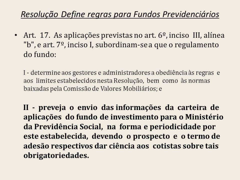 Resolução Define regras para Fundos Previdenciários