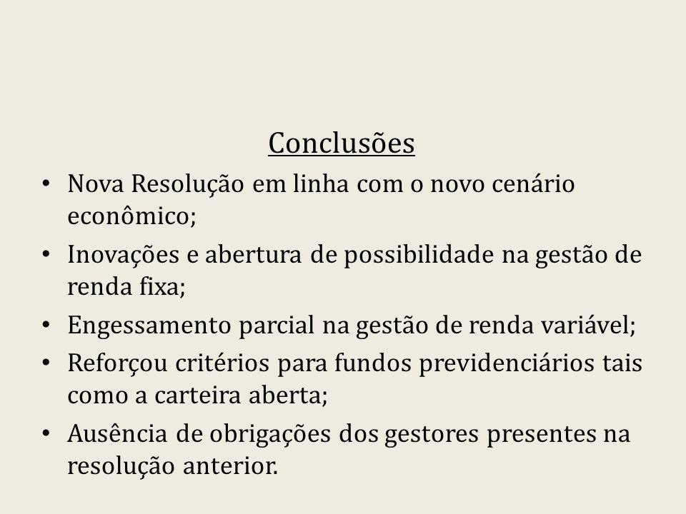 Conclusões Nova Resolução em linha com o novo cenário econômico;