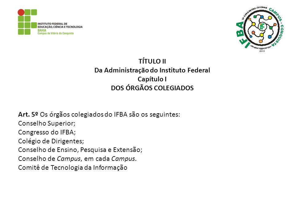 Da Administração do Instituto Federal