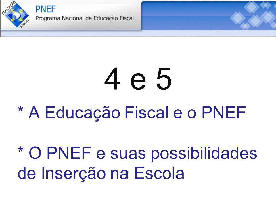 4 e 5 * A Educação Fiscal e o PNEF * O PNEF e suas possibilidades de Inserção na Escola
