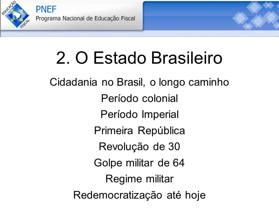 2. O Estado Brasileiro Cidadania no Brasil, o longo caminho