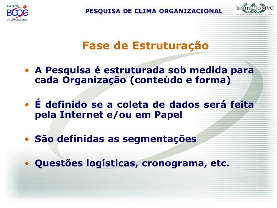 Fase de Estruturação A Pesquisa é estruturada sob medida para cada Organização (conteúdo e forma)
