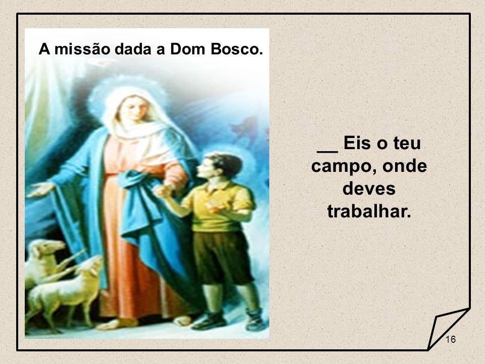A missão dada a Dom Bosco. __ Eis o teu campo, onde deves trabalhar.