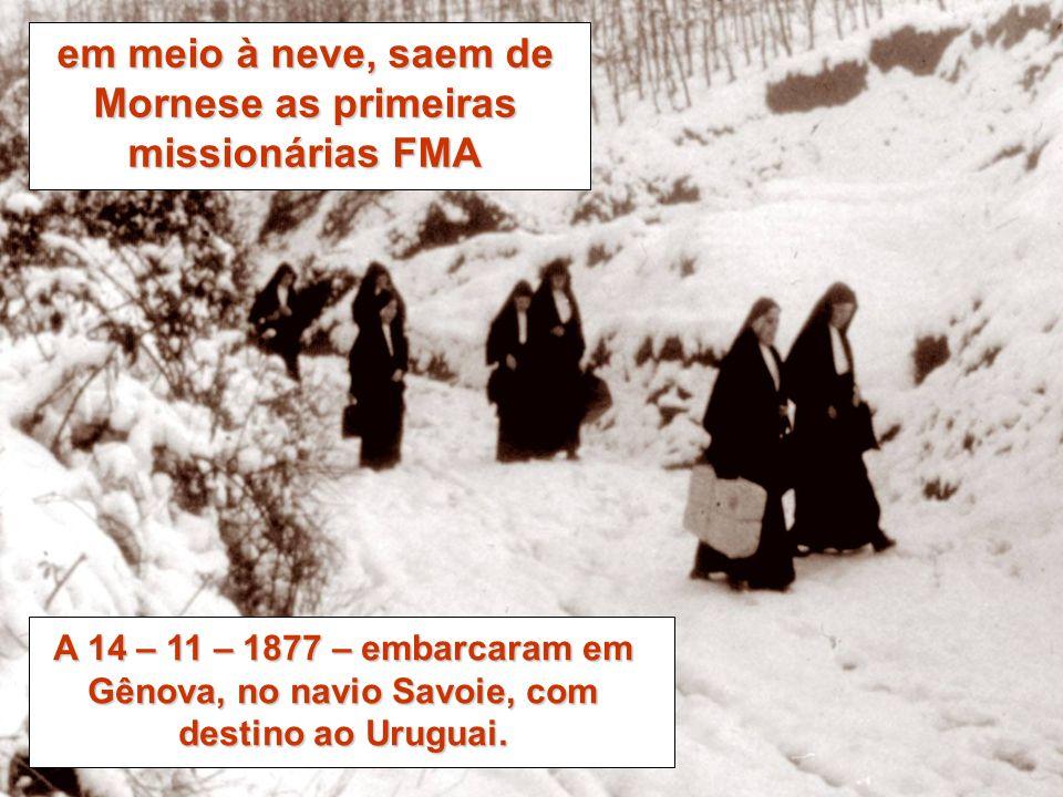 em meio à neve, saem de Mornese as primeiras missionárias FMA