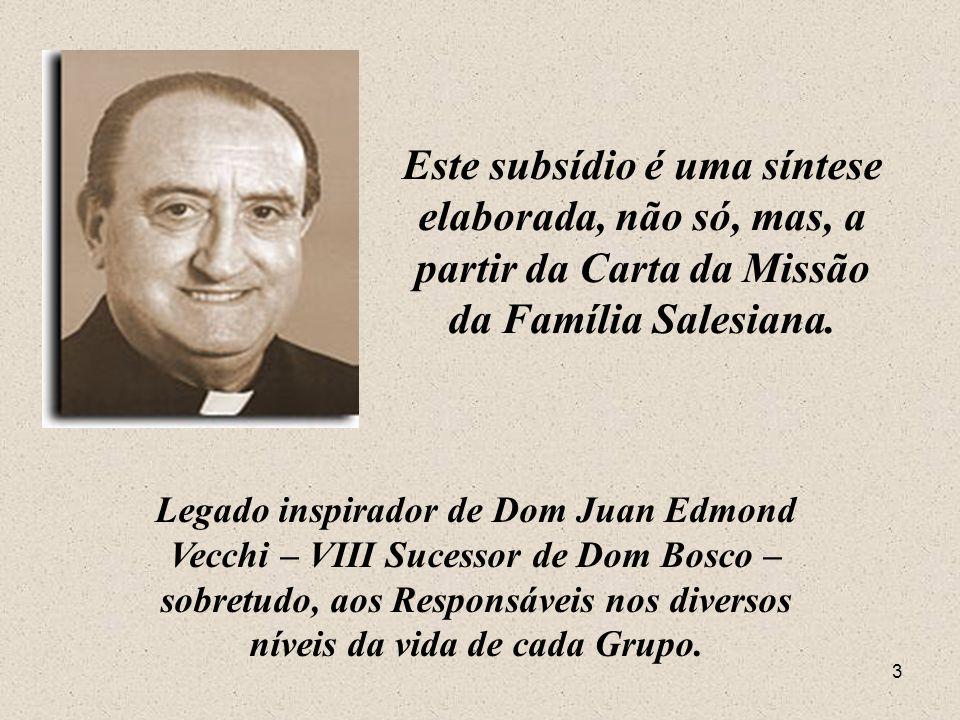 Este subsídio é uma síntese elaborada, não só, mas, a partir da Carta da Missão da Família Salesiana.