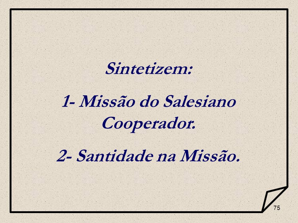 1- Missão do Salesiano Cooperador.