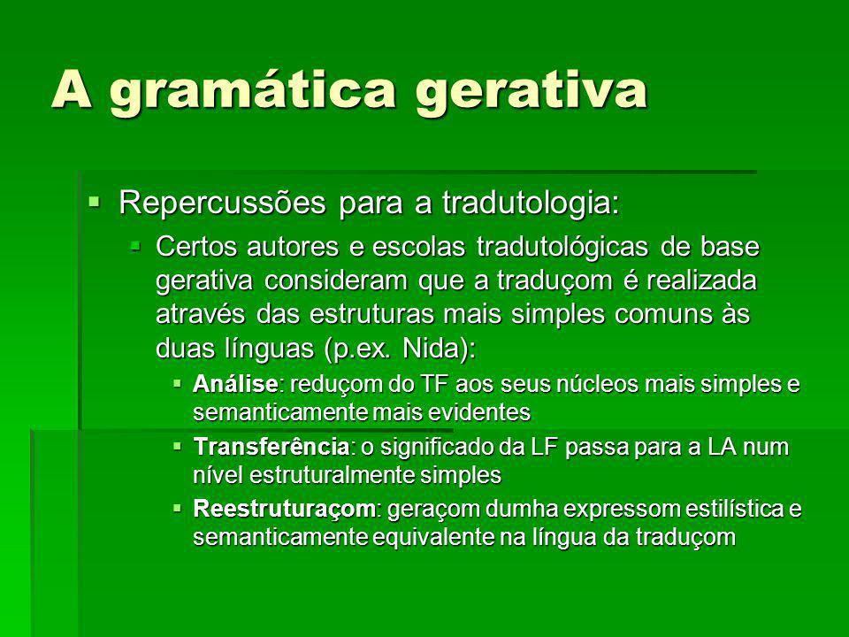 A gramática gerativa Repercussões para a tradutologia: