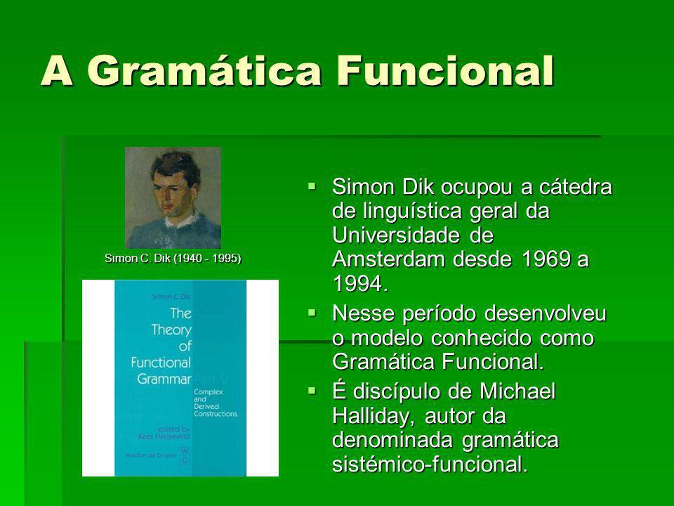 A Gramática Funcional Simon Dik ocupou a cátedra de linguística geral da Universidade de Amsterdam desde 1969 a 1994.
