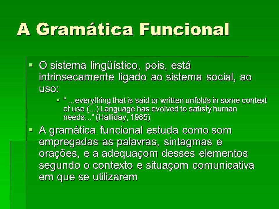 A Gramática Funcional O sistema lingüístico, pois, está intrinsecamente ligado ao sistema social, ao uso:
