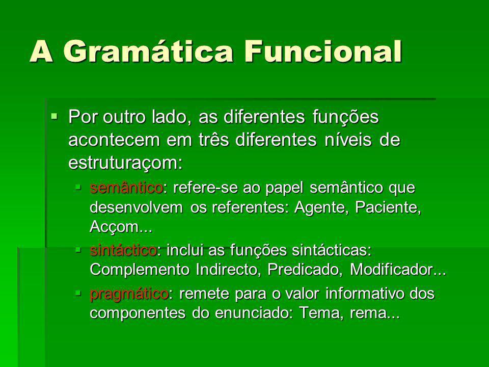 A Gramática Funcional Por outro lado, as diferentes funções acontecem em três diferentes níveis de estruturaçom: