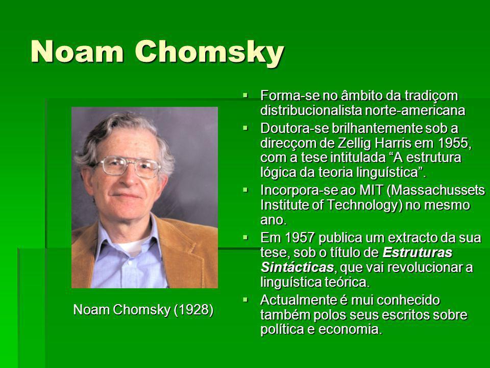 Noam Chomsky Forma-se no âmbito da tradiçom distribucionalista norte-americana.