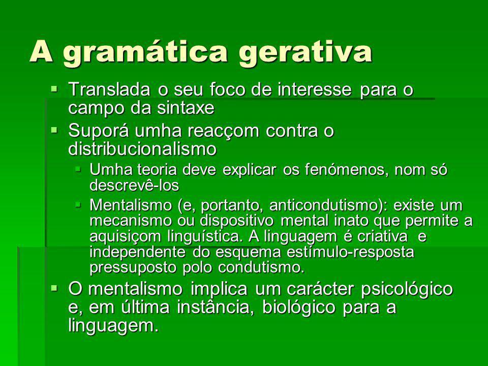 A gramática gerativa Translada o seu foco de interesse para o campo da sintaxe. Suporá umha reacçom contra o distribucionalismo.