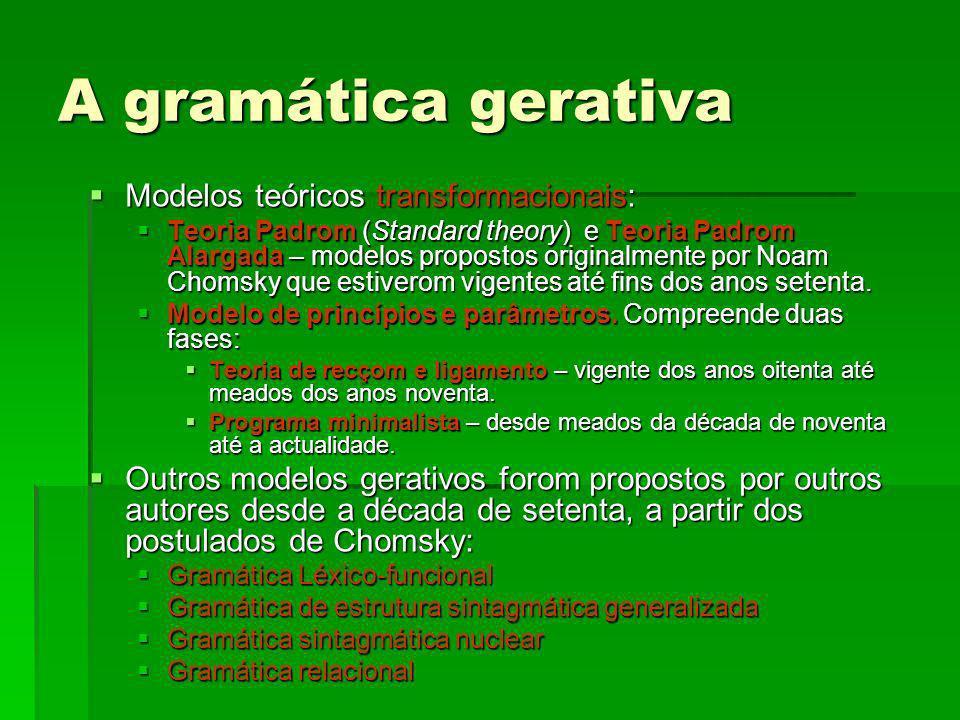 A gramática gerativa Modelos teóricos transformacionais: