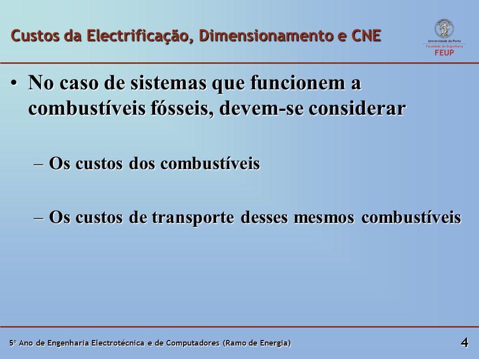 Custos da Electrificação, Dimensionamento e CNE