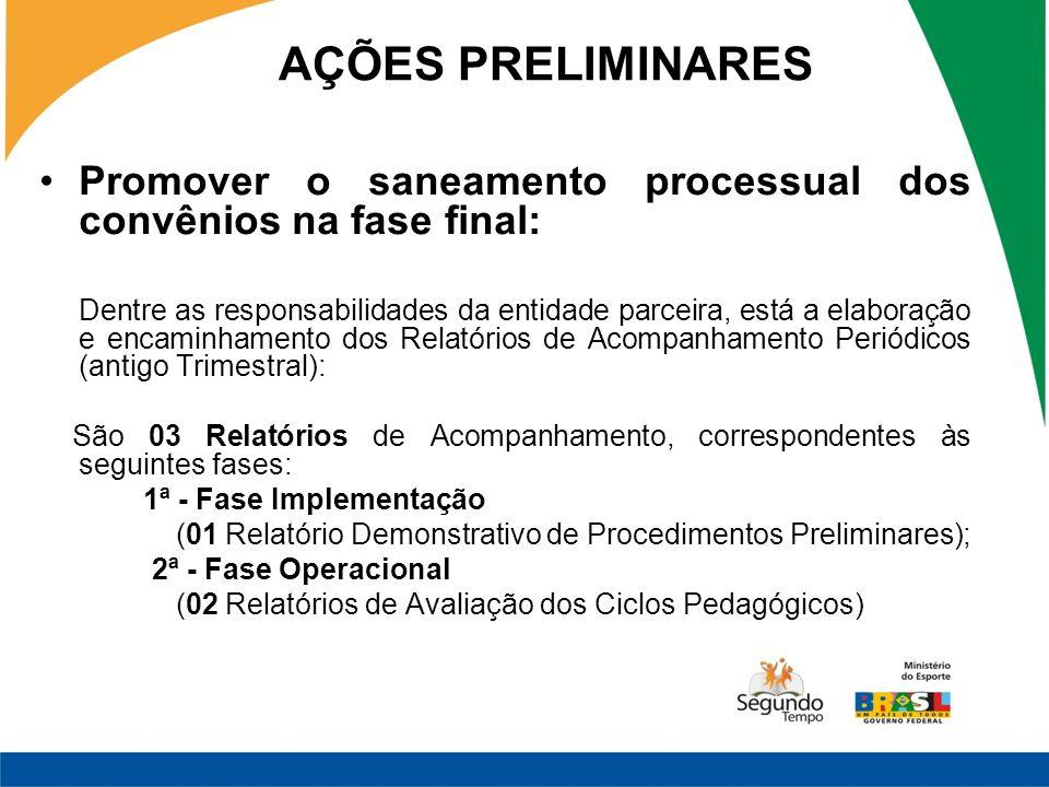 AÇÕES PRELIMINARES Promover o saneamento processual dos convênios na fase final: