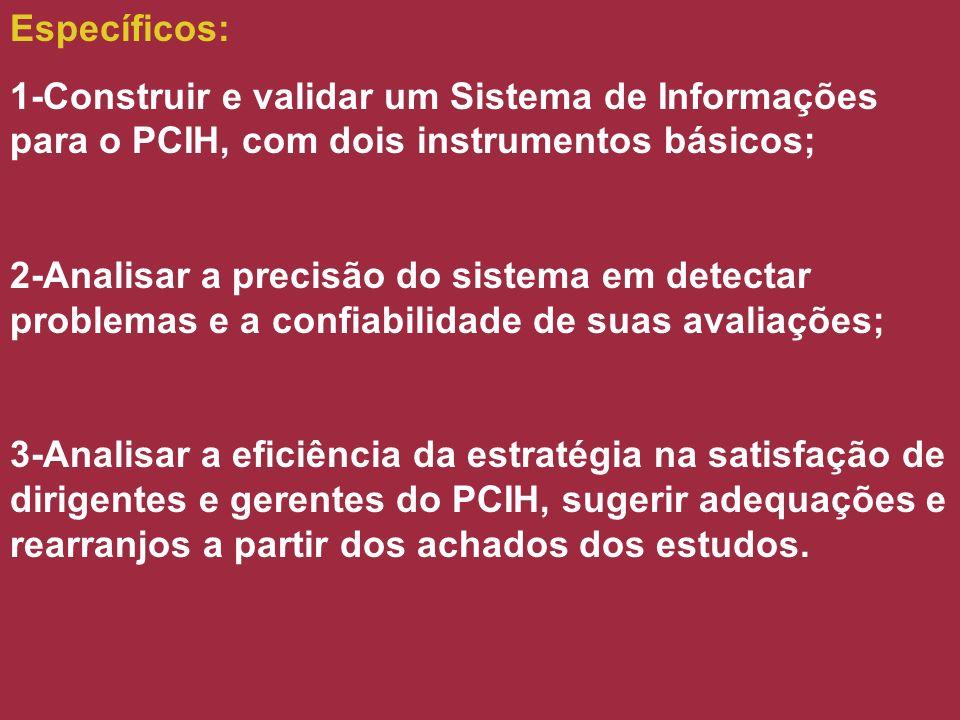 Específicos: 1-Construir e validar um Sistema de Informações para o PCIH, com dois instrumentos básicos;