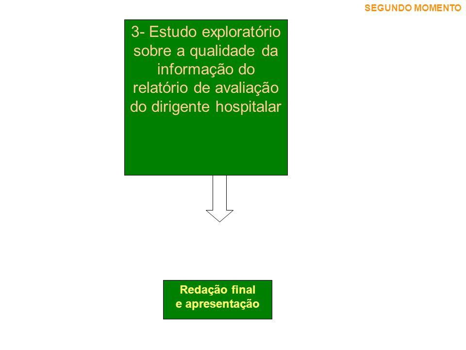 SEGUNDO MOMENTO 3- Estudo exploratório sobre a qualidade da informação do relatório de avaliação do dirigente hospitalar.